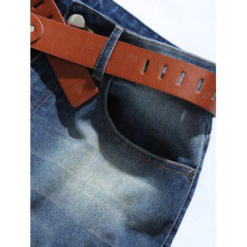 Zipper Fly Pocket Mid Rise Ripped Jeans - BLUE S