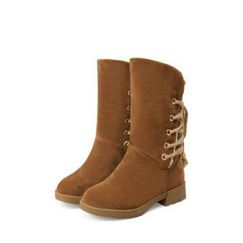 Low Heel Back Lace Up Snow Boots - BROWN BROWN