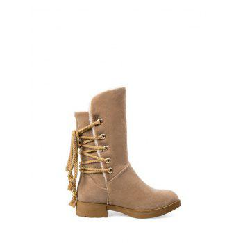Low Heel Back Lace Up Snow Boots