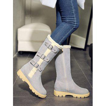 Mid Calf Faux Shearling Panel Boots - GRAY GRAY
