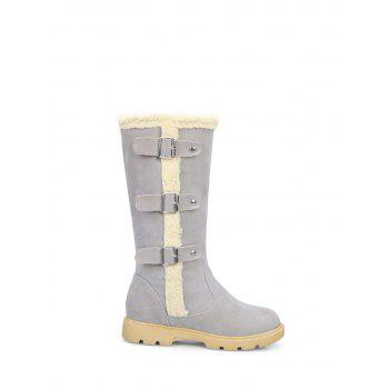 Mid Calf Faux Shearling Panel Boots