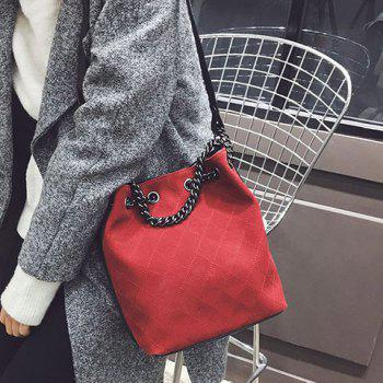 Checked Suede Crossbody Bag