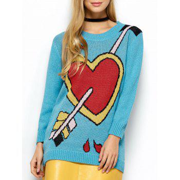 A Arrow Through Heart Tunic Sweater