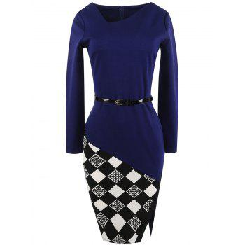 Long Sleeve Plaid Panel Belted Bodycon Dress