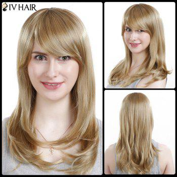 Inclined Bang Long Silky Straight Siv Human Hair Wig - LIGHT BLONDE LIGHT BLONDE