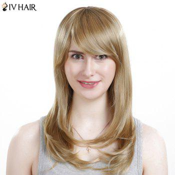 Inclined Bang Long Silky Straight Siv Human Hair Wig -  LIGHT BLONDE