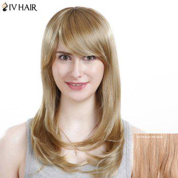 Inclined Bang Long Silky Straight Siv Human Hair Wig - BROWN WITH BLONDE BROWN/BLONDE