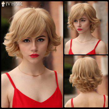 Layered Short Inclined Bang Shaggy Curly Siv Human Hair Wig - BLONDE BLONDE