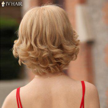 Layered Short Inclined Bang Shaggy Curly Siv Human Hair Wig -  BLONDE