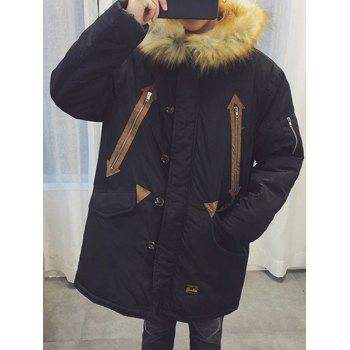 Single Breasted Furry Hood Zipper Design Padded Coat
