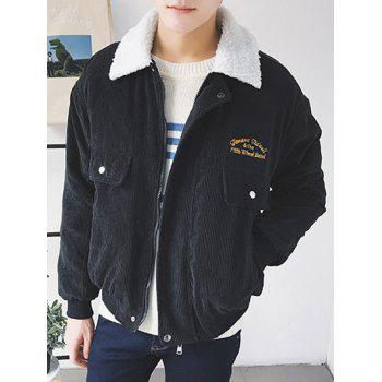 Drop Shoulder Turndown Collar Embroidered Corduroy Padded Jacket