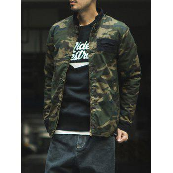 Camouflage Stand Collar Chinese Style Buttons Padded Jacket