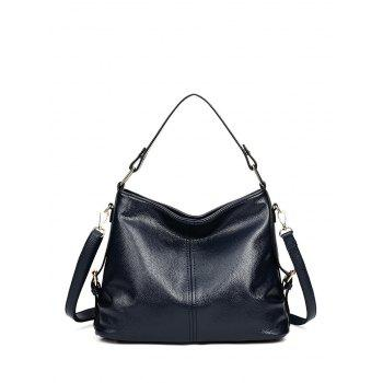 Metal Double Buckle Textured Leather Tote Bag