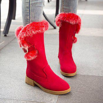 Buckle Strap Faux Fur Insert Snow Boots - RED 37