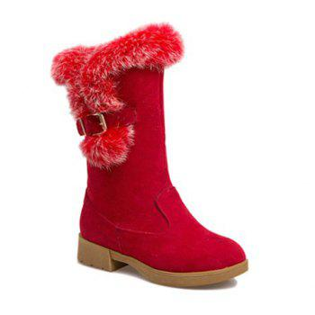 Buckle Strap Faux Fur Insert Snow Boots - RED RED
