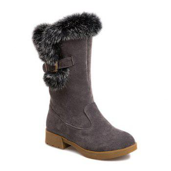 Buckle Strap Faux Fur Insert Snow Boots - GRAY GRAY