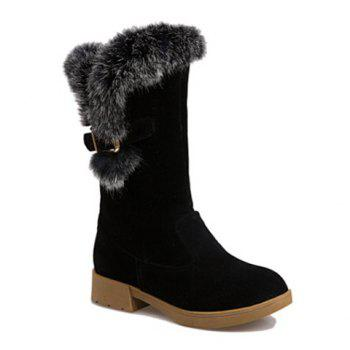 Buckle Strap Faux Fur Insert Snow Boots