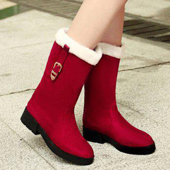 Suede Buckle Strap Mid Calf Boots - 37 37