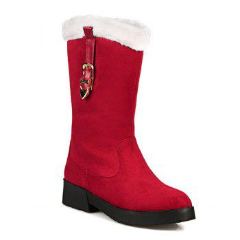 Suede Buckle Strap Mid Calf Boots - RED RED