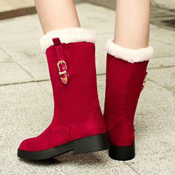 Suede Buckle Strap Mid Calf Boots - RED 37