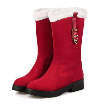 Suede Buckle Strap Mid Calf Boots - RED 38
