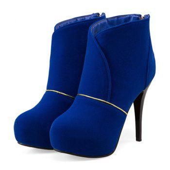 High Heel Back Zip Up Ankle Boots - 38 38
