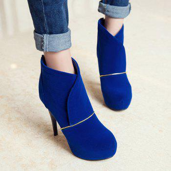 High Heel Back Zip Up Ankle Boots - BLUE BLUE