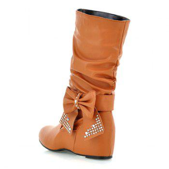 Ruched Bowknot PU Leather Mid Calf Boots - BROWN 38