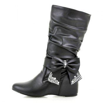 Ruched Bowknot PU Leather Mid Calf Boots - BLACK BLACK