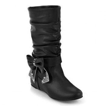 Ruched Bowknot PU Leather Mid Calf Boots