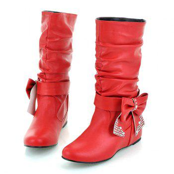 Ruched Bowknot PU Leather Mid Calf Boots - RED RED