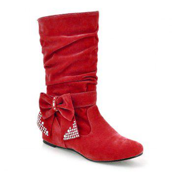 Ruched Bowknot Flock Mid Calf Boots - RED 39
