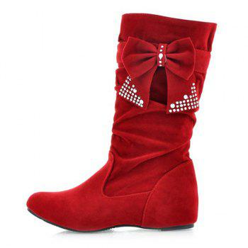 Ruched Bowknot Flock Mid Calf Boots - 39 39