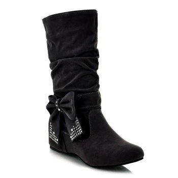Ruched Bowknot Flock Mid Calf Boots - BLACK BLACK
