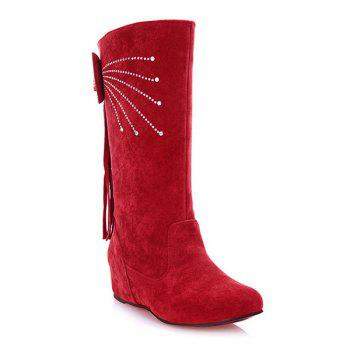 Rhinestone Fringe Bowknot Mid Calf Boots - RED RED