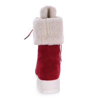 Fold Down Platform Fuzzy Mid Calf Boots - RED RED