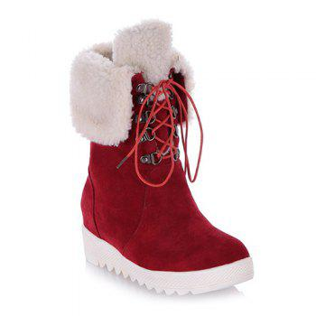 Fold Down Platform Fuzzy Mid Calf Boots - RED 39