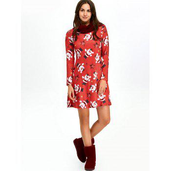 Christmas Santa Claus Skater Dress with Long Sleeves - RED 2XL