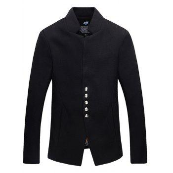 Single Breasted Stand Collar Woolen Blends Jacket