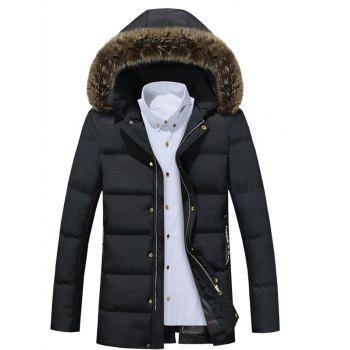 Detachable Furry Hood Zip Up Longline Down Coat