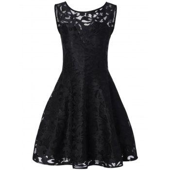 Lace Cocktail Formal Skater Short Dress - BLACK 4XL