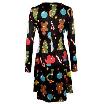 Knee Length Christmas Patterned Dress - BLACK M
