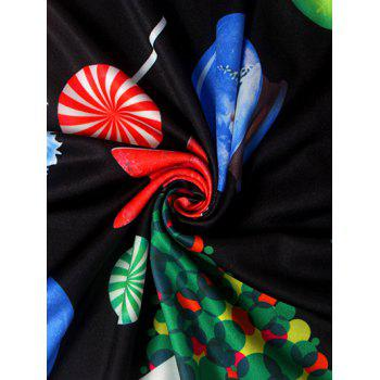 Knee Length Christmas Tree Star Dress - BLACK BLACK