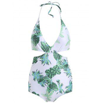 Halter Leaves Cutout Tropical Print Monokini Swimsuit