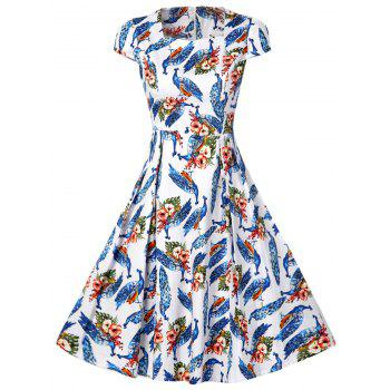 Retro Style Peacock Print High Waist A Line Dress