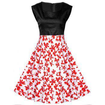 Buy Vintage Abstract Floral Print High Waist Dress BLACK