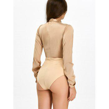 Pleated Cut Out Long Sleeve Bodysuit - BROWN M