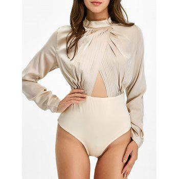 Pleated Cut Out Long Sleeve Bodysuit