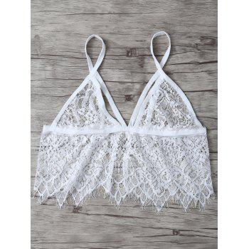 See Through Unlined Wave Cut Lace Bra