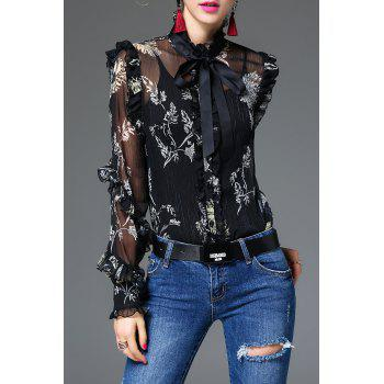 Bow Tie Floral Blouse With Camisole